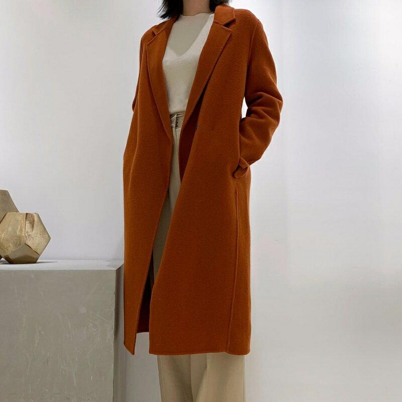 毛呢大衣羊毛外套-長版翻領簡約寬鬆女外套2色73wb21【獨家進口】【米蘭精品】 0