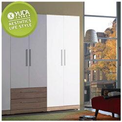 衣櫃【YUDA】潔絲 浮雕 木心板 2.5尺 雙色 雙吊 衣櫥/櫥櫃 J9S 327-5