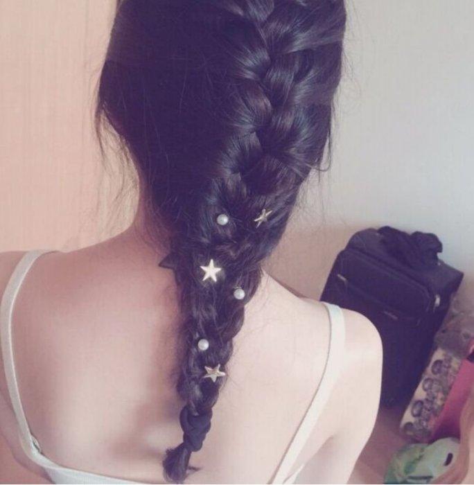 ★草魚妹★H596髮飾新娘造型盤髮隨意點綴星星珍珠螺旋夾髮夾髮飾頭飾,售價一個49元