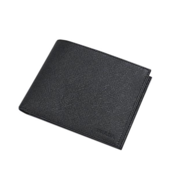 (免運)PRADA男士雙摺中夾(黑色)有零錢袋2MO002