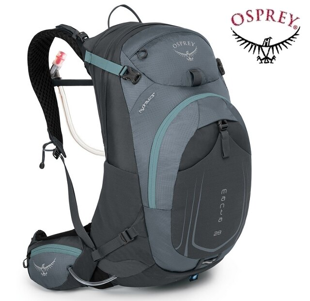 Osprey Manta AG 28 登山背包/健行背包/單車包/水袋背包 男款 灰 附贈水袋 背包套 台北山水