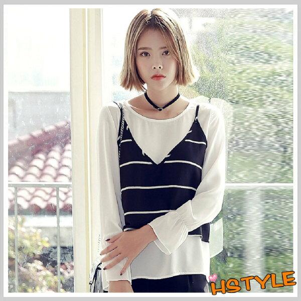 雪紡上衣 兩件式條紋質感長袖雪紡衫NH7221-創翊韓都
