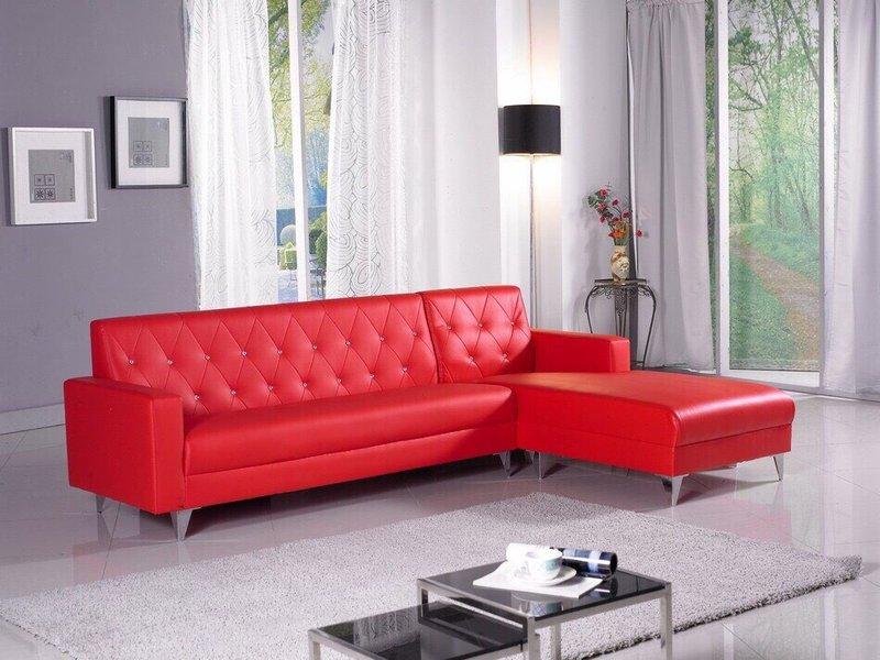 !!新生活家具!! 紅色 水鑽 皮沙發 L型沙發組《摩洛哥》工廠直營.臺灣製造 非 H&D ikea 宜家