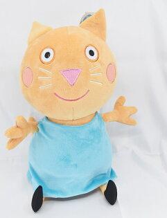 X射線【C040347】粉紅豬小妹PeppaPig12吋玩偶-康蒂貓,絨毛填充玩偶玩具公仔抱枕靠枕娃娃