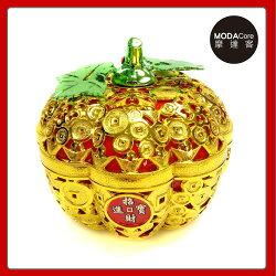 農曆春節新年◉簍空金蘋果開運造型糖果盒(中)擺飾桌飾收納盒 YS-TDC19002