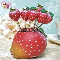 婚禮小物推薦到可愛草莓304食用級不鏽鋼水果叉(一組六支) 附禮盒療癒系蛋糕點心叉子組 新婚婚禮送禮小物【築巢傢飾】