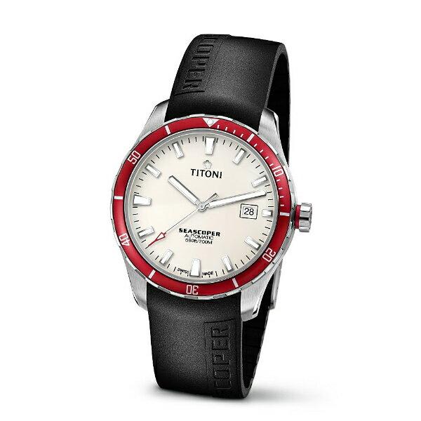 TITONI瑞士梅花錶83985SRB-RB-516 Seascoper系列專業潛水機械腕錶/白面41mm