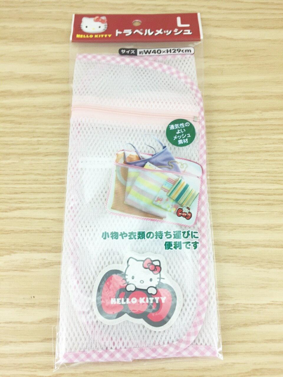 【真愛日本】15122500003 網狀透氣多工收納袋L-紅結 三麗鷗 Hello Kitty 凱蒂貓 收納袋 雜物收納
