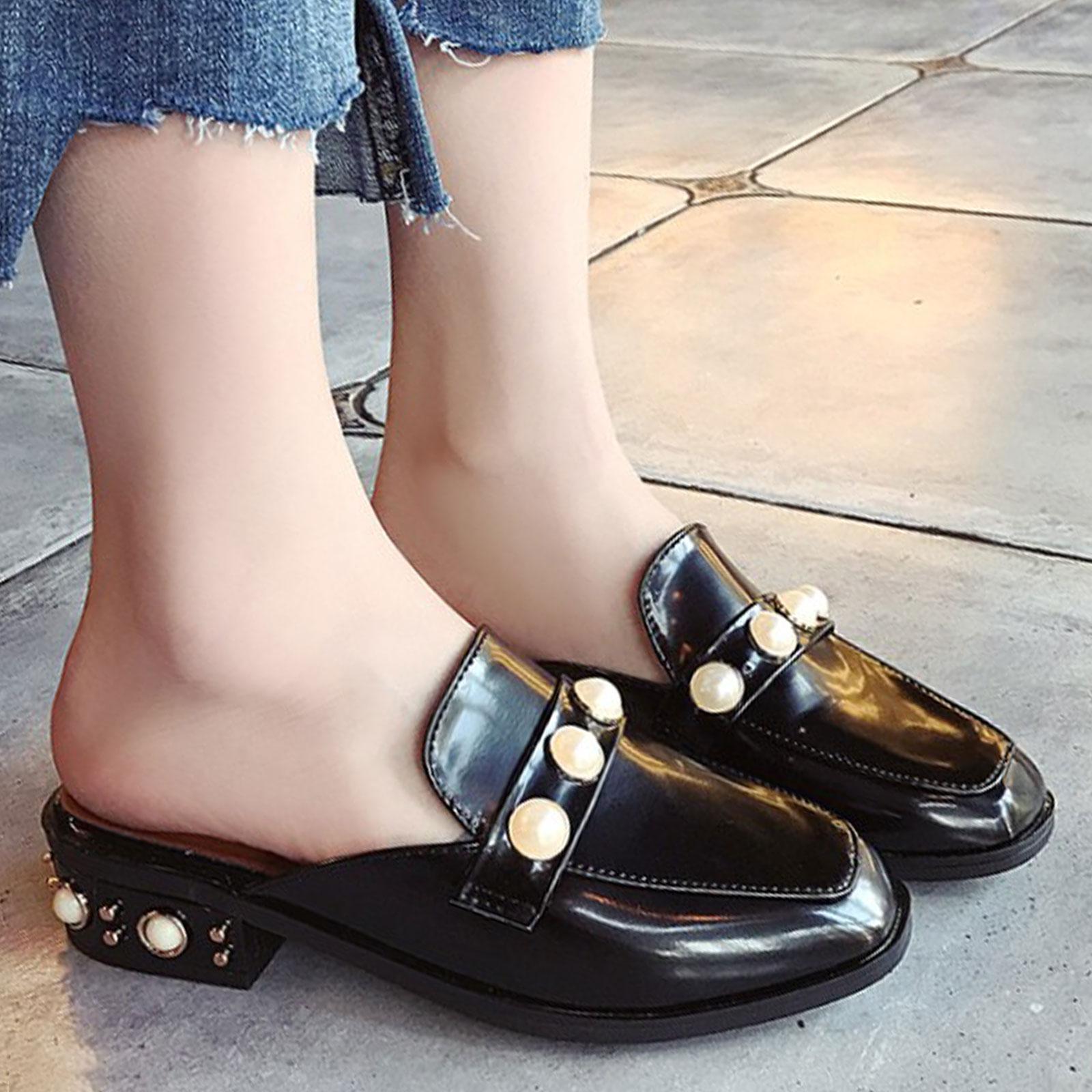 懶人鞋 淺口珍珠裝飾方頭粗跟半拖鞋【S1693】☆雙兒網☆ 1