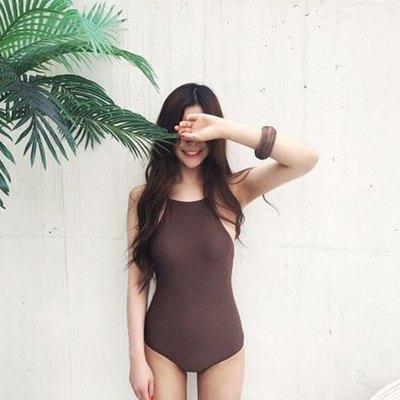 泳裝比基尼泳衣素色聚攏交叉露背性感顯瘦連身泳裝【SF18012_1】BOBI0329