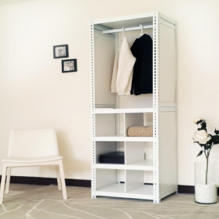 [DIY層架]分層分格掛衣收納整理架 (掛衣+六格195高60寬45深cm)/層架、收納架、置物架、整理架、鞋架、衣架、書架