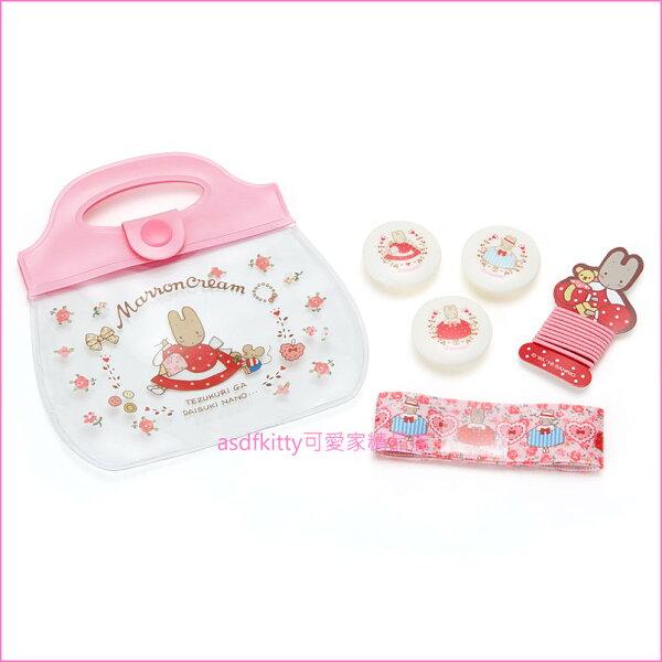 asdfkitty可愛家☆茉莉兔粉紅色DIY髮飾組髮圈髮束-日本正版商品