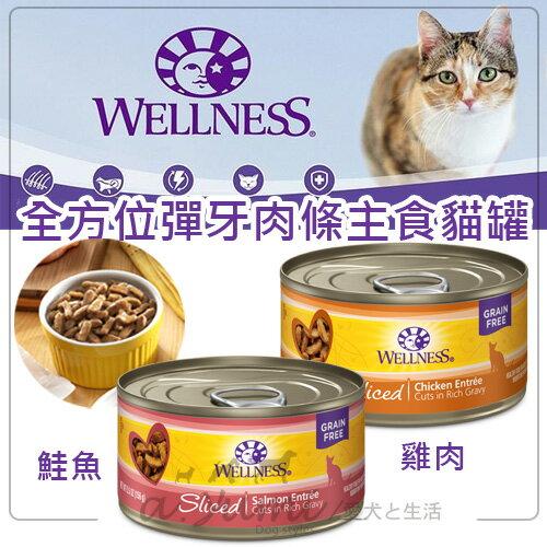 《Wellness寵物健康》全方位彈牙肉條主食貓罐-鮭魚雞肉85g主食罐