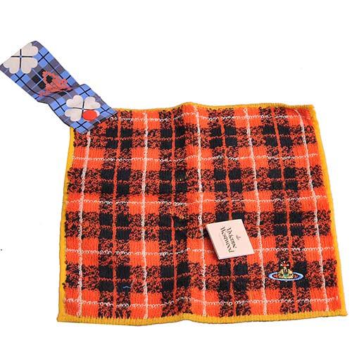 Vivienne Westwood 經典行星LOGO刺繡可掛式小方巾(橘紅底)