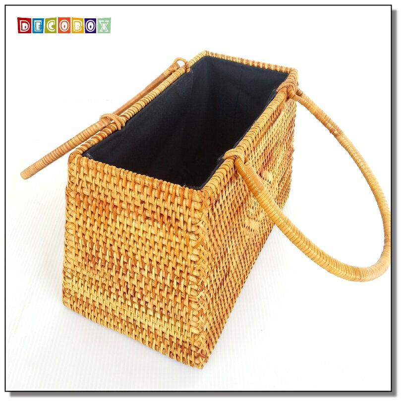 DecoBox藤編梯形提籃(茶道,藤編包) 4