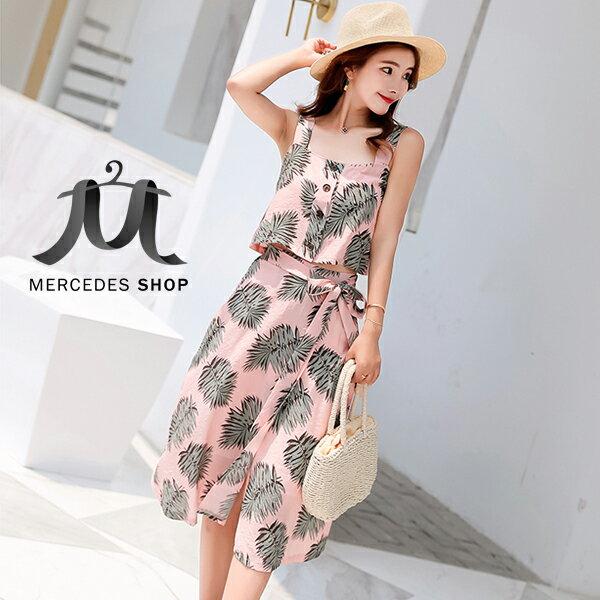 《全店75折》韓國度假風背帶露肩修身上衣+半身裙兩件套(S-XL,2色)-梅西蒂絲(現貨+預購)