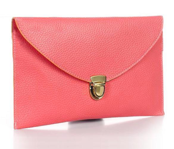 Women Synthetic Leather Golden Chain Envelope Purse Clutch Handbag 0