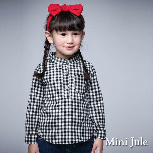 Azio Kids美國派:《MiniJule童裝》上衣立領格紋單口袋長袖上衣(黑)