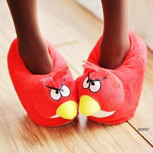 美麗大街【103010616】憤怒鳥系列造型絨布室內拖鞋