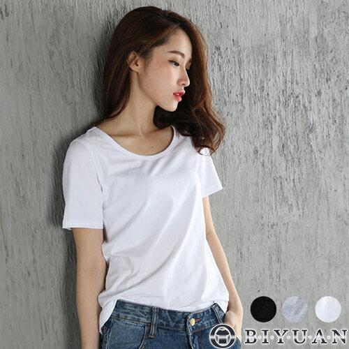 女裝基本款素面百搭圓領短T【F7004】OBIYUAN寬鬆短袖上衣共3色