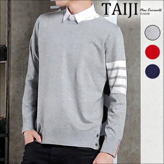 NTJTB01針織毛衣‧簡約手臂線條圓領針織毛衣‧三色【NTJTB01】-TAIJI