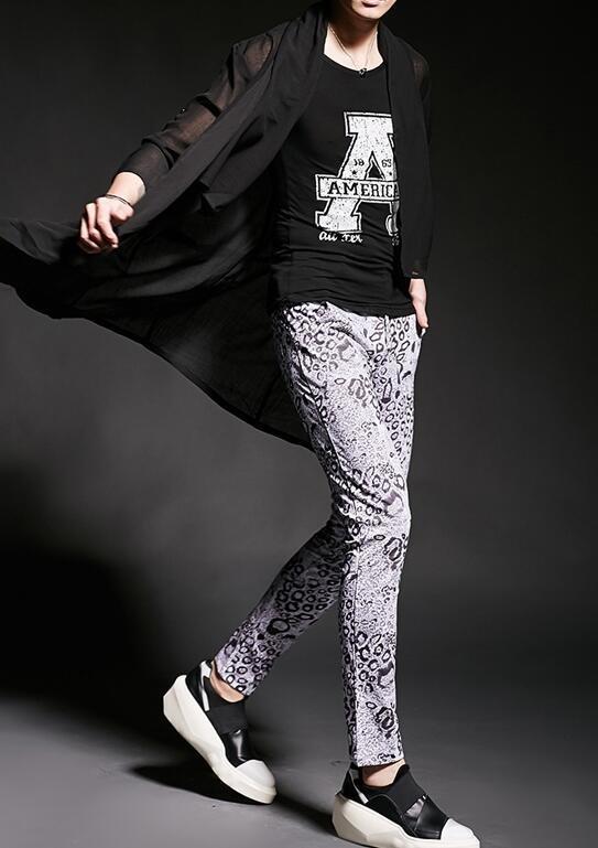 FINDSENSE 韓國潮流 個性 不規則 透視感 垂感 時尚 街頭潮男 夜店 DJ 發型師 必備 長袖T恤 襯衫薄外套