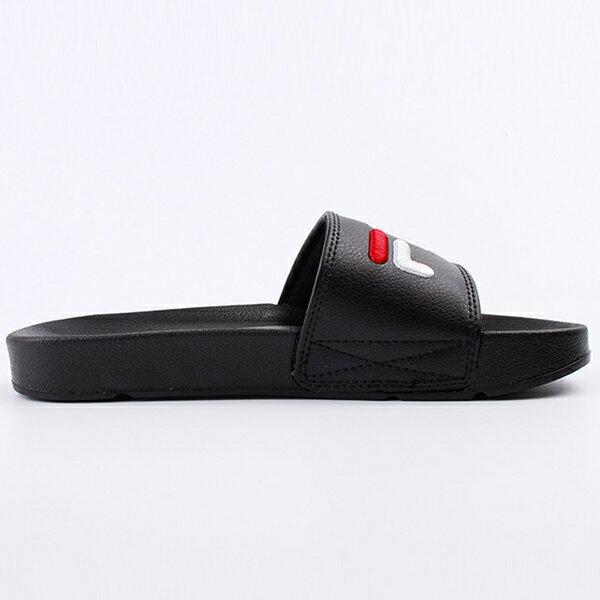 Shoestw【4-S313T-021】FILA 拖鞋 韓版 潮拖 電繡 大LOGO 棉內襯 黑色 男女尺寸都有 3