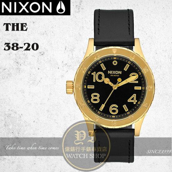 NIXON 店The 38~20潮流 中性潛水真皮腕錶 38mm A467~513 貨 極