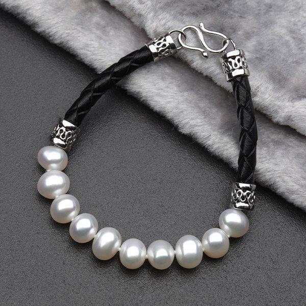 銀淡水珍珠 珍珠手鏈 皮繩白珠