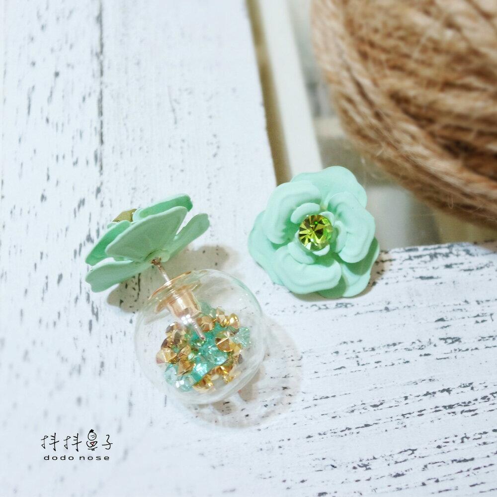亮鑽玻璃球花朵耳環(3色) 2