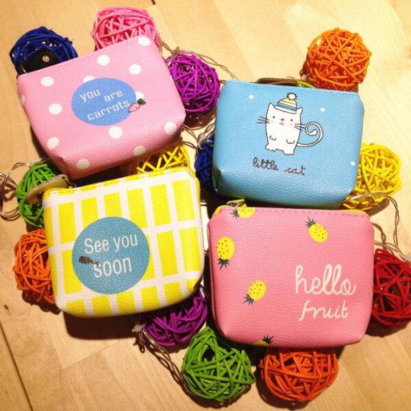 韓國超可愛皮革小貓咪紅蘿蔔鳳梨小魚錢包零錢包收納包收線包雜物包交換禮物