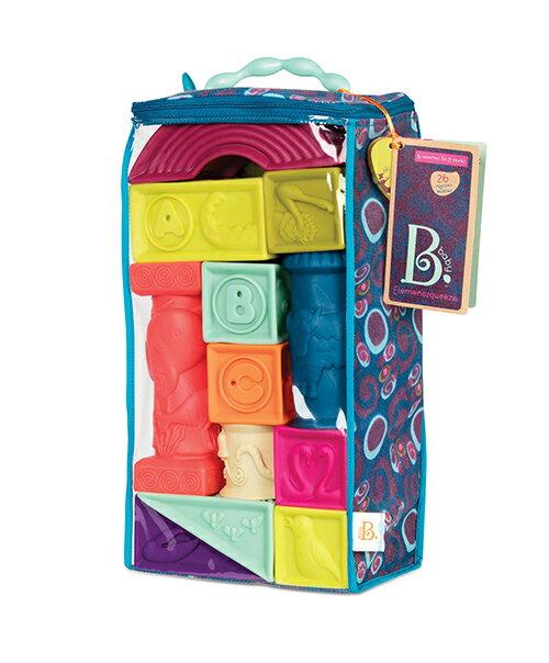 【美國B.Toys感統玩具-Battat B. Elememosqueeze】羅馬城堡(芽綠)  軟積木.洗澡玩具 6+【紫貝殼】