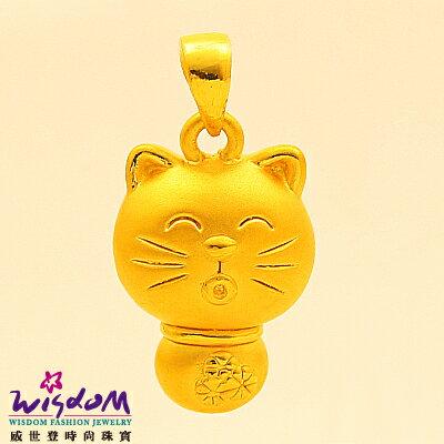 3D硬黃金 立體千足金 微笑小貓 0.63錢 手鍊 項鍊