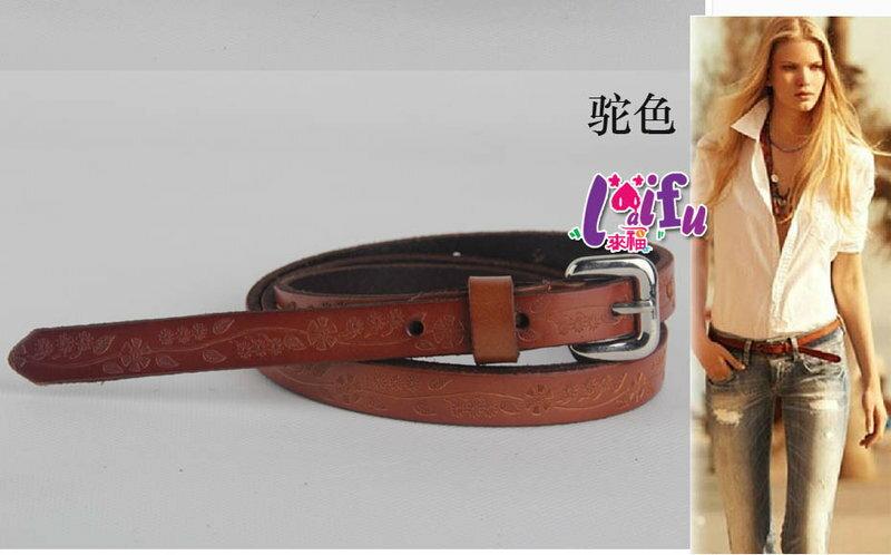 ★草魚妹★H440腰帶真皮帶雕花細腰帶皮帶,售價250元