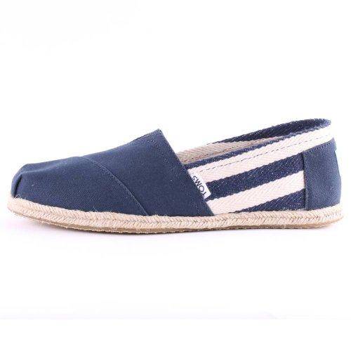 【TOMS】藍色寬條紋學院風平底鞋 Navy Stripe University Women's Clssics【全店免運】 3