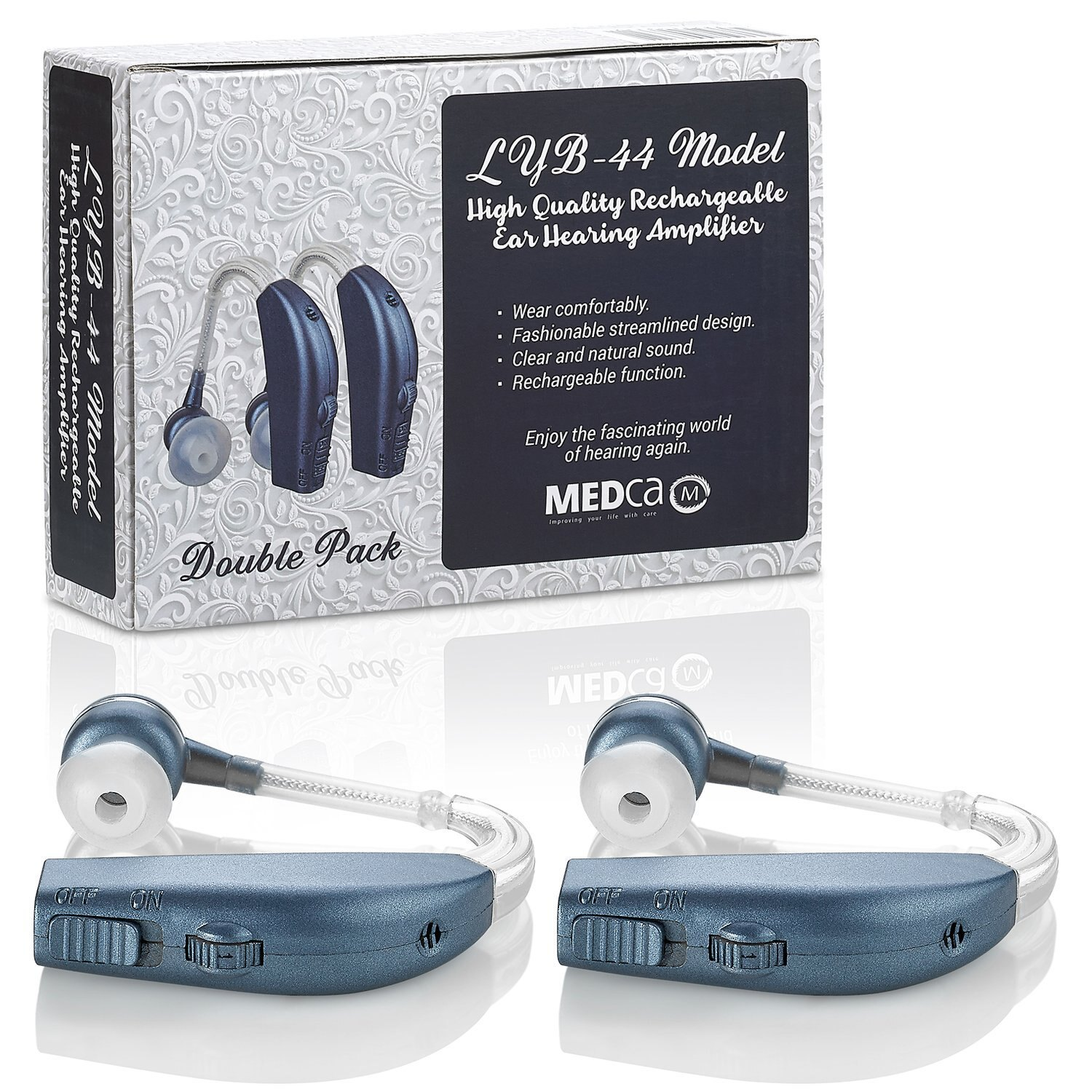 Personal Hearing Enhancement Sound Amplifier Stratadime 220 Digital Tone Adjustable Aid Behind The Ear Pair Of 2 Rechargeable
