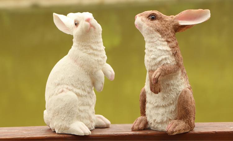 仿真動物兔子擺件創意家居桌面陽臺花園工藝品雕塑小白兔布景道具1入