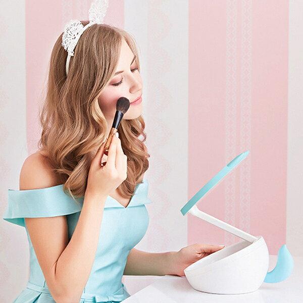 萌寵化妝鏡 可充電式 LED 化妝鏡燈 三合一 化妝鏡 梳妝鏡 檯燈 儲物收納 MUID化妝台 補光燈