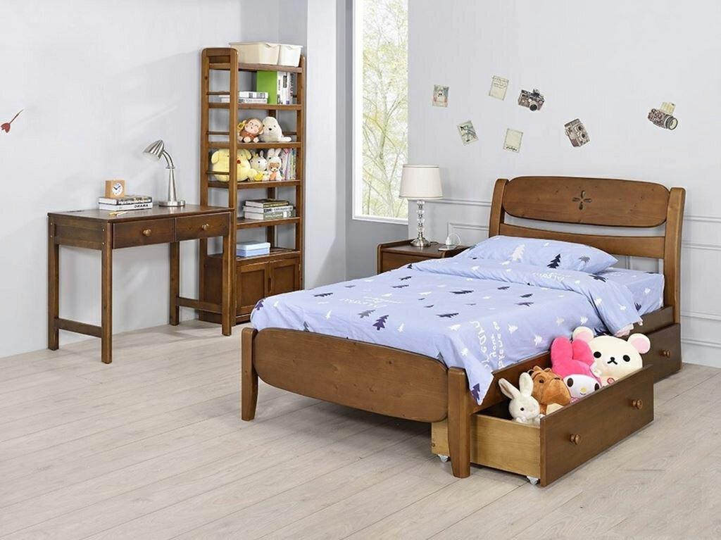 【尚品傢俱】YC-31 5尺雙人床/胡桃(未含抽屜)~3.5尺單人床、洗白~