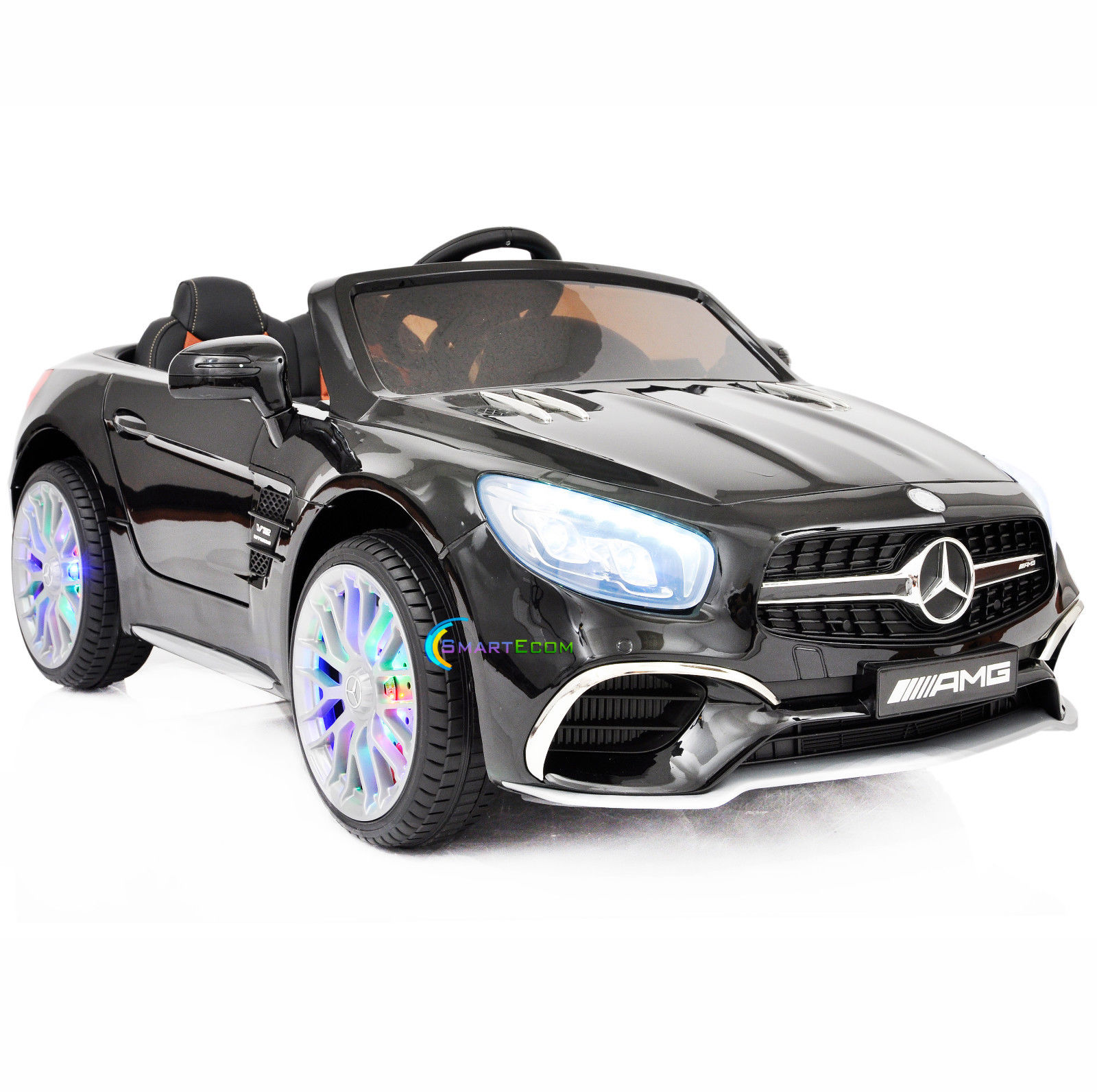 Ride On Toys 12v Battery Car Mercedes Sl65 Remote Mp4 Screen Led Black 0