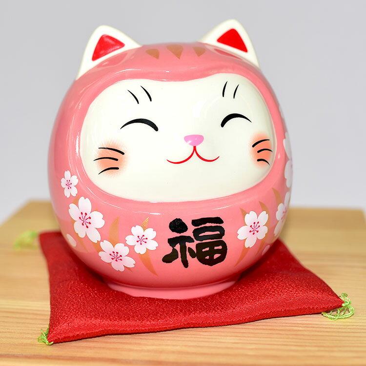 櫻桃福 彩繪開運貓不倒翁 吉祥物 日本藥師窯出品 貯金箱 15cm