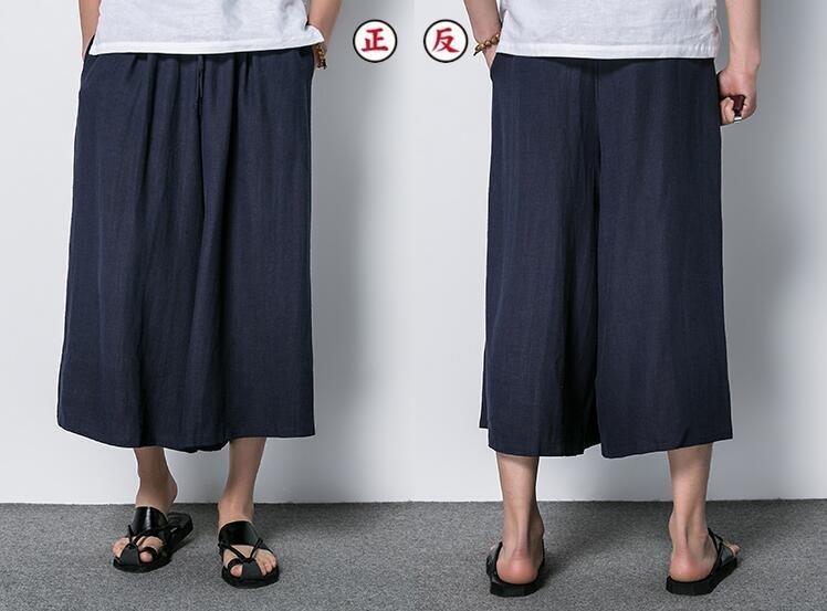 FINDSENSE MD 日系 潮 男 時尚 亞麻 寬鬆舒適 立體剪裁 透氣 純色素面 七分褲 休閒褲 裙褲