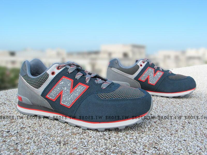 Shoestw【KL574O1G】NEW BALANCE 復古慢跑鞋 墨綠 橘 潑墨 大童鞋 NB574 女生可穿