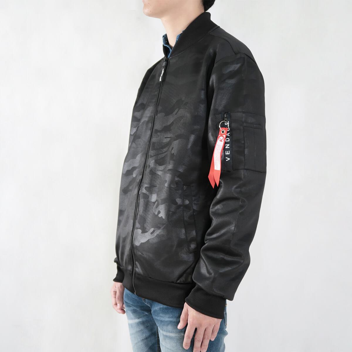 韓版迷彩飛行夾克 MA-1飛行外套 迷彩外套 空軍外套 輕量單層薄外套 MA-1 CAMOUFLAGE FLIGHT JACKET (321-8917-01)深藍色、(321-8917-02)黑色 3L 4L(胸圍48~51英吋) [實體店面保障] sun-e 3