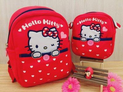 【真愛日本】15121900032 童用後背包-我愛凱蒂紅 KITTY 凱蒂貓 三麗鷗 包包 小書包 後背包