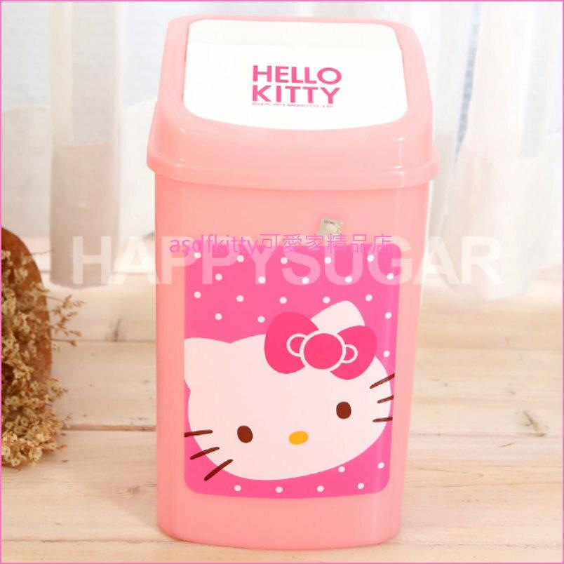 asdfkitty可愛家☆KITTY粉水玉平衡蓋方形垃圾桶-5.6L-韓國製