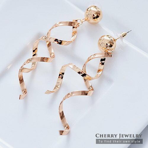個性金屬纏繞造型耳環【櫻桃飾品】【10437】