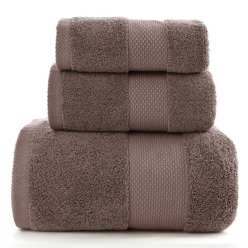 純棉套巾3件套浴巾毛巾方巾純色緞檔吸水加厚定