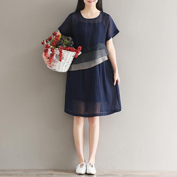 中大  兩件組 清爽天絲麻做舊拼接氣質洋裝^(2色,M^~2XL^) 御聖願 ^~金色年華