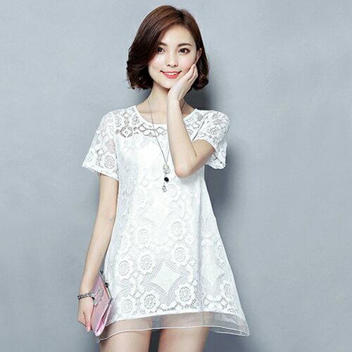 蕾絲衫顯瘦衫 (3色,M~4XL)【OREAD】 2